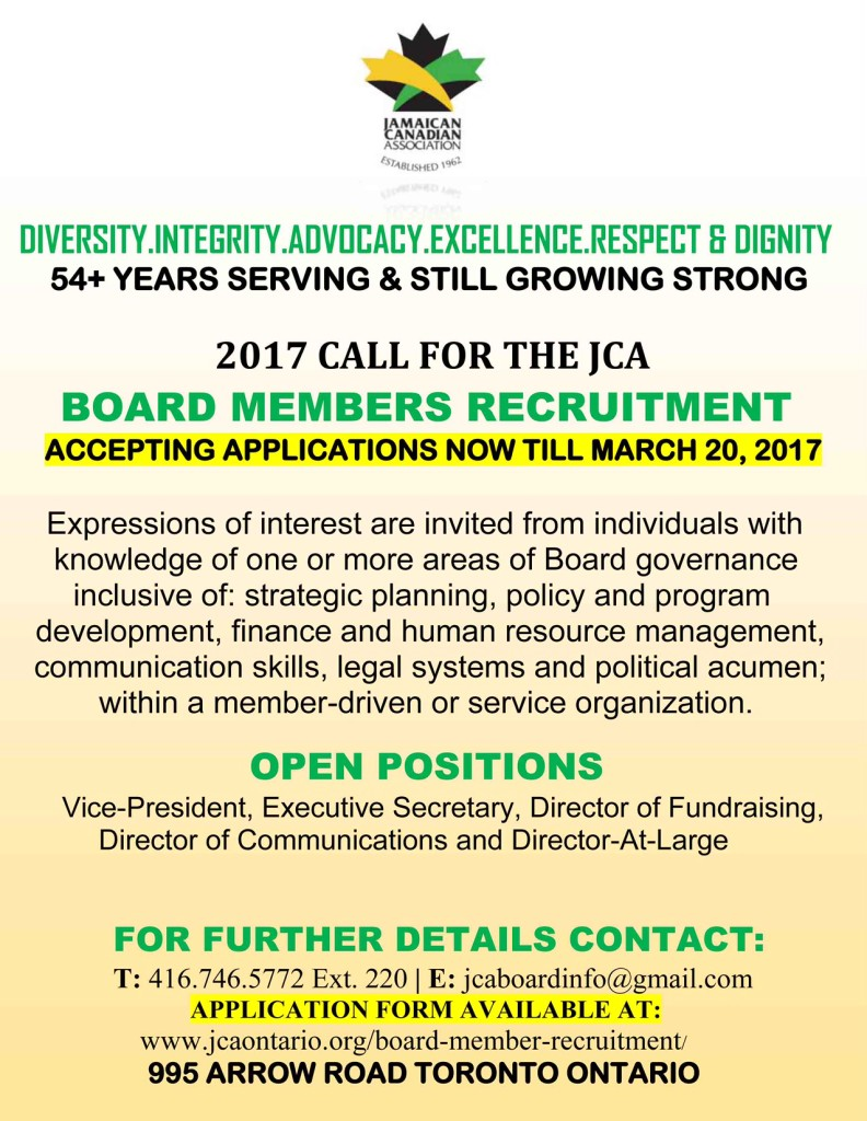2017 JCA Board Members Recruitment March 20